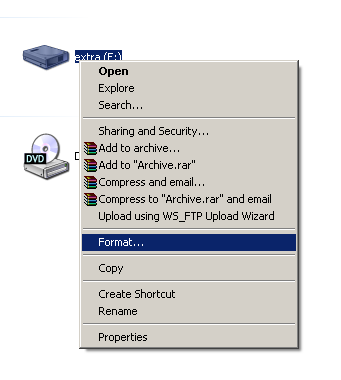formatting xp without cd