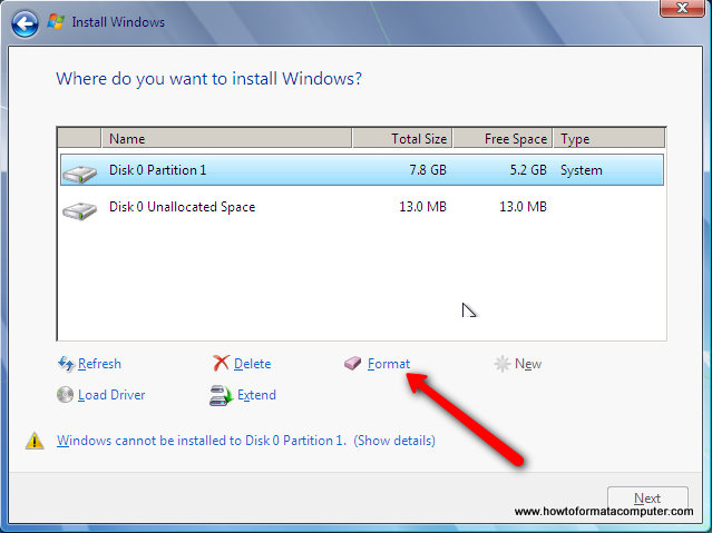 Install Windows 7 - Format Windows 7 Install Partition
