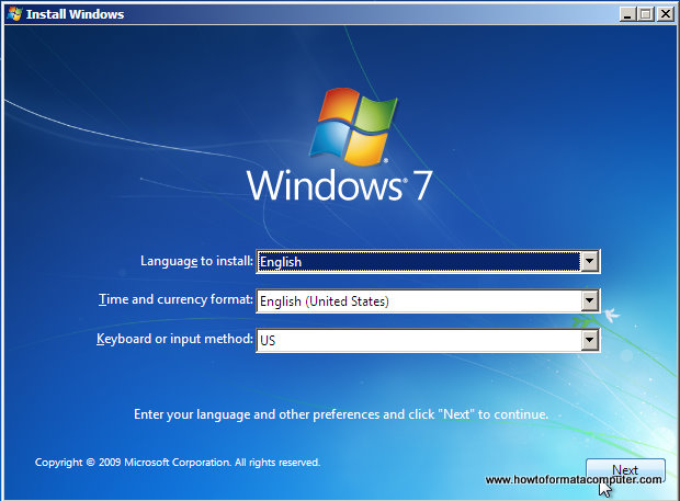 Install Windows 7 - First Setup Screen, input language, time and currency format and keyboard input method