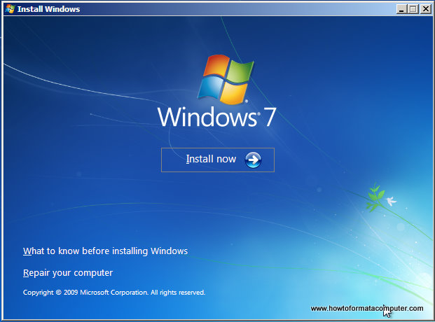 Installer Windows 7 - écran Installer maintenant