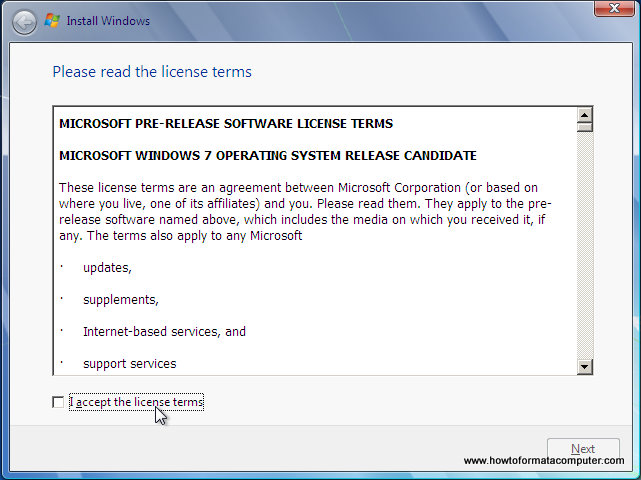 Install Windows 7 - License Terms