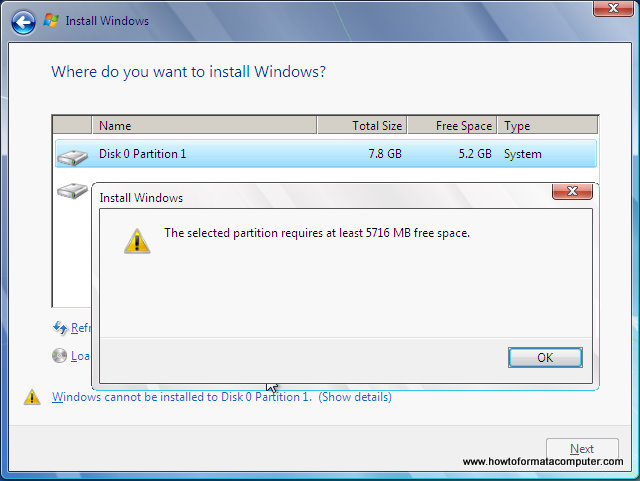 Install Windows 7 - Not enough disk space warning message will appear