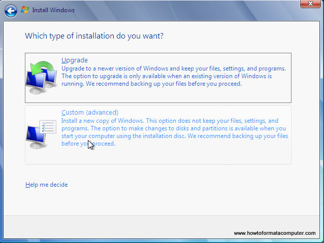 Install Windows 7 - Custom Install