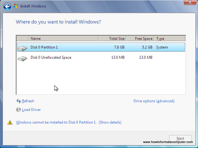 Install Windows 7 - Where do you want to install windows