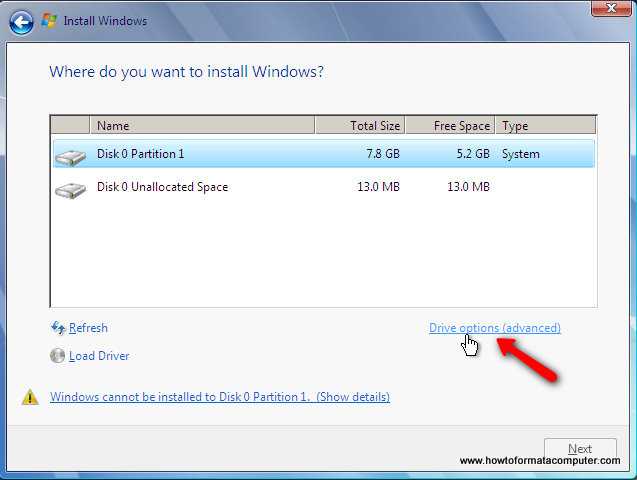 Install Windows 7 - Drive Options