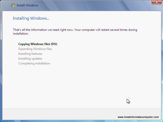 Install Windows 7 - Setup running