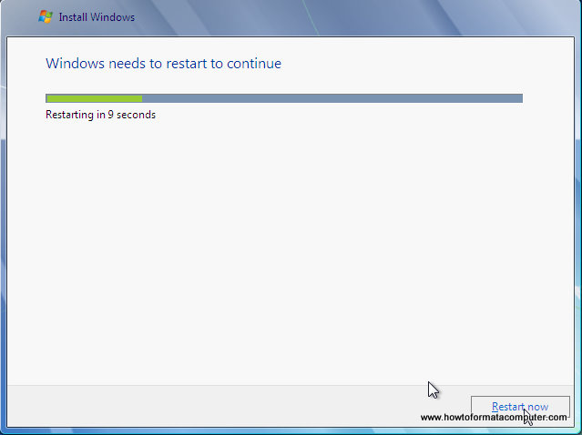 Install Windows 7 - Setup Restarts