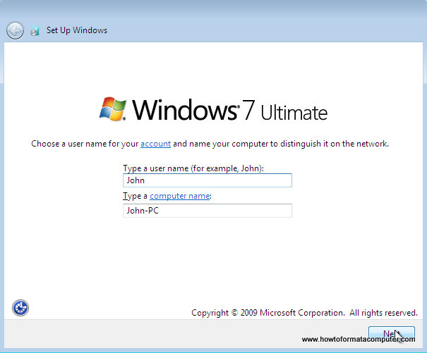 Install Windows 7 - Type a username