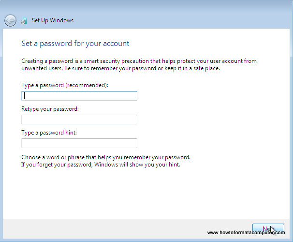 Install Windows 7 - Type a password