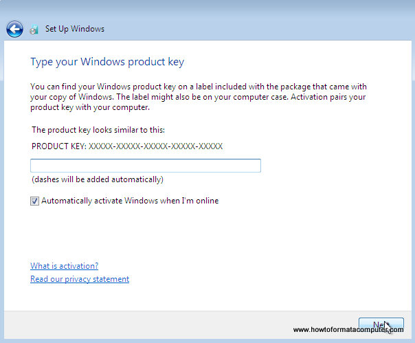 Installer Windows 7 - Tapez votre clé de produit Windows