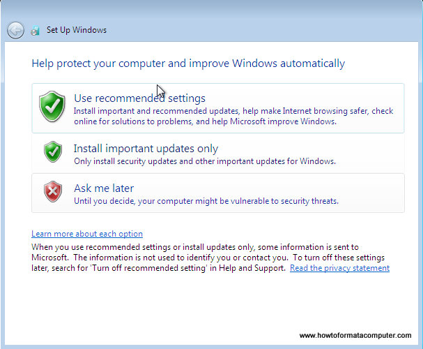 Install Windows 7 - Use Recommended Settings