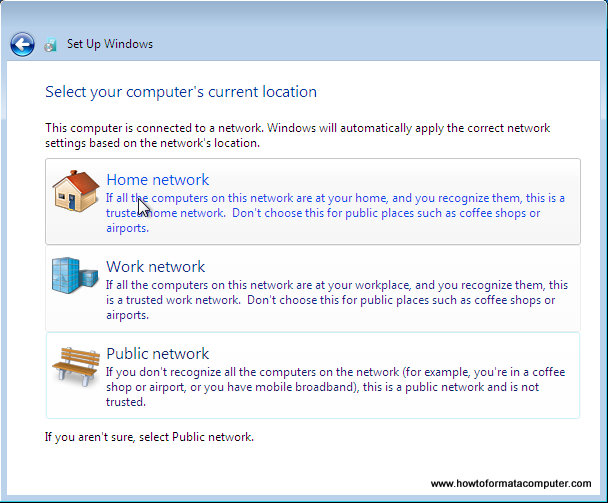 Installer Windows 7 - réseau informatique emplacement sélectionnez