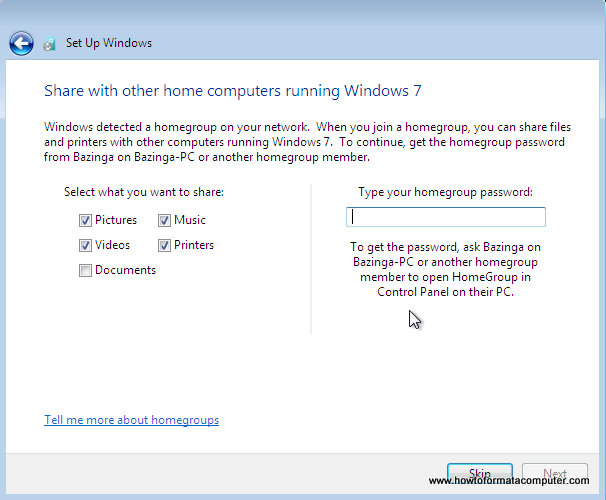 Install Windows 7 - Type homegroup password