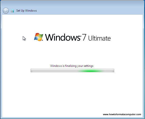 Installer Windows 7 - Windows finalise les paramètres...